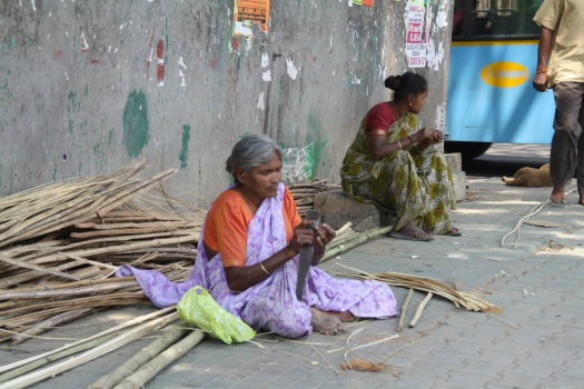 Working on busy street corner.