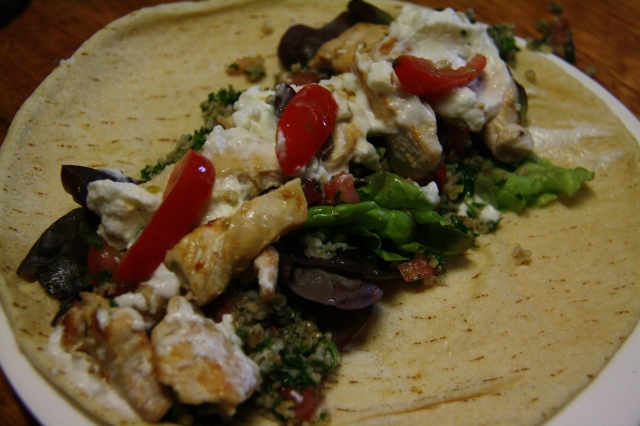 Toum and tabouleh chicken wrap