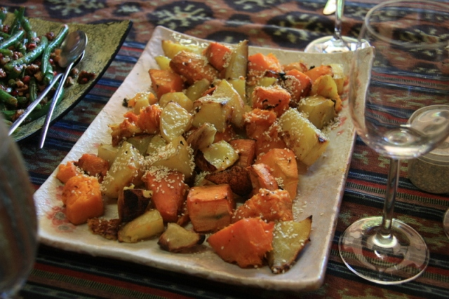 Roast vegetables with sesame