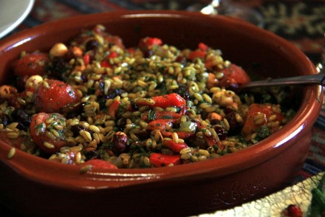 Freaky with roast tomato and hazelnut salad